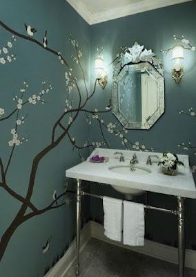 ציור הקיר לאמבטיה בסגנון יפני