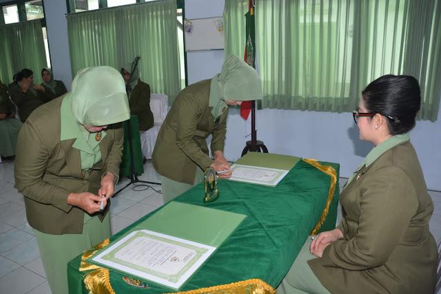 Ny. Irvan Cristian Resmi Jabat Ketua Persit KCK Cabang XXI Dim 0711 Pemalang