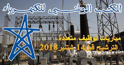 المكتب الوطني للكهرباء والماء الصالح للشرب يعلن عن مباريات توظيف متعددة. الترشيح قبل 14 شتنبر 2018