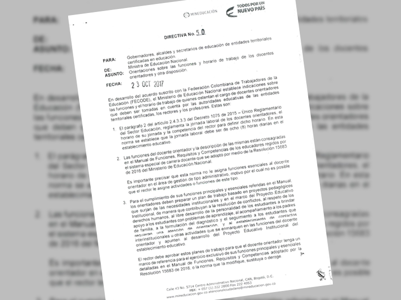 Directiva Nº 50, Ministerio de Educación Nacional.