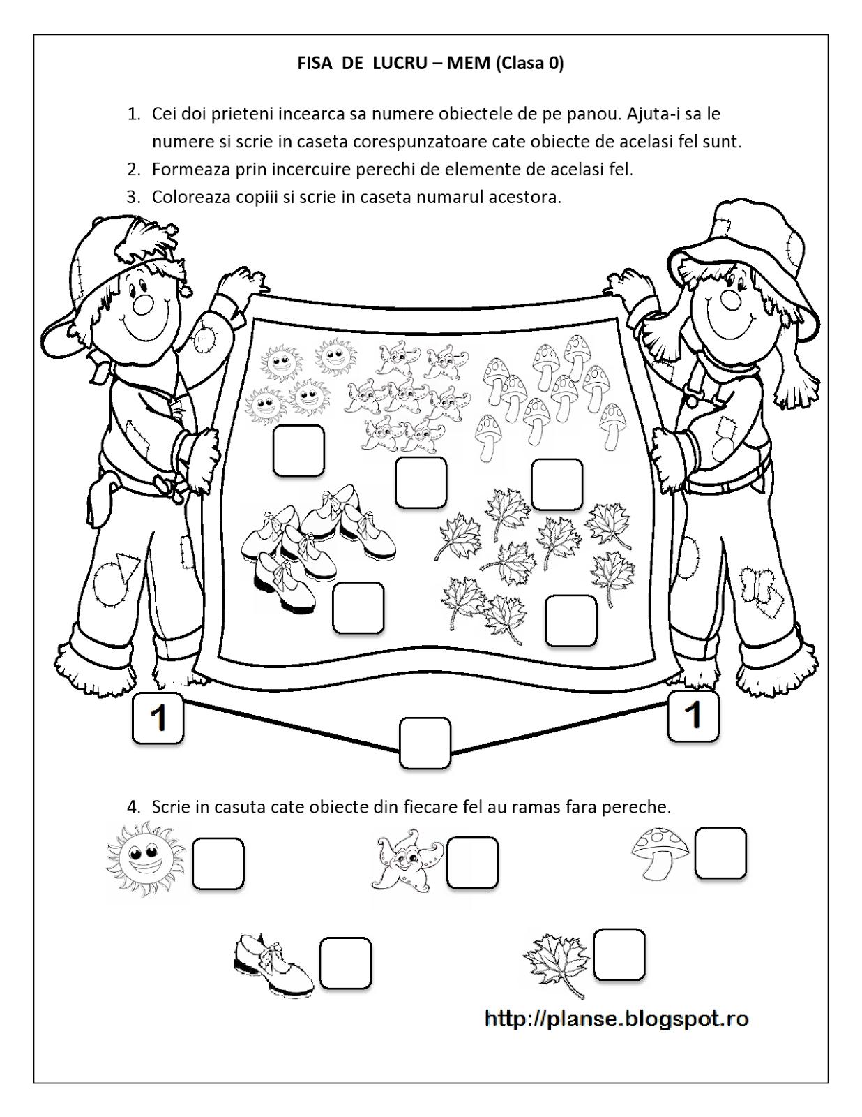 Planse de colorat si fise pentru copii: FISE MEM Clasa