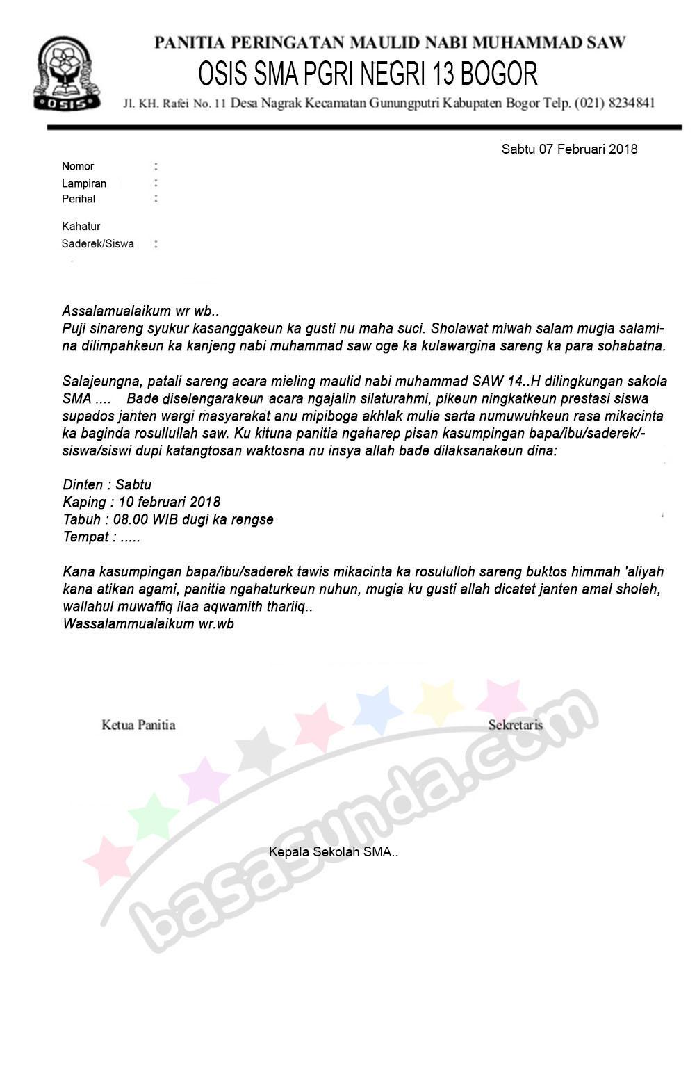 Contoh Surat Resmi Dengan Bahasa Sunda