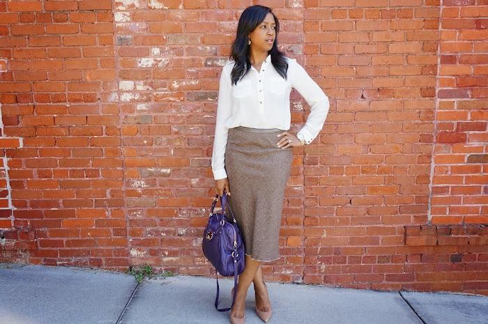 tweed long brown skirt