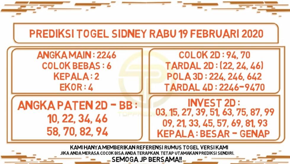 Prediksi Togel JP Sidney 19 Februari 2020 - Prediksi Togel JP