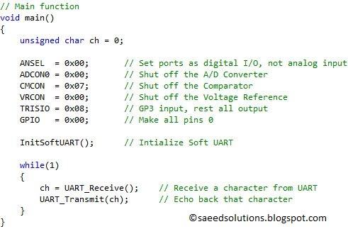 PIC12F675 software UART (bit banging) code + Proteus simulation