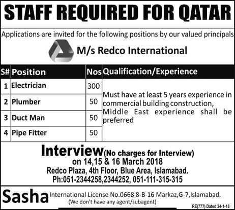 Jobs in QATAR 2018 for Electrician, Plumber, Duct Man, Pipe Fitter - Confirm Visa