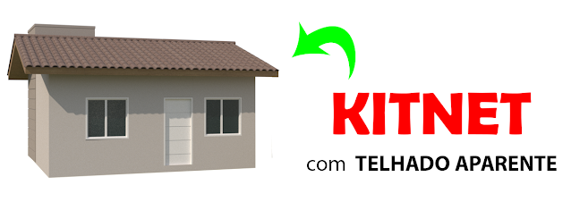 kitnet com telhado aparente