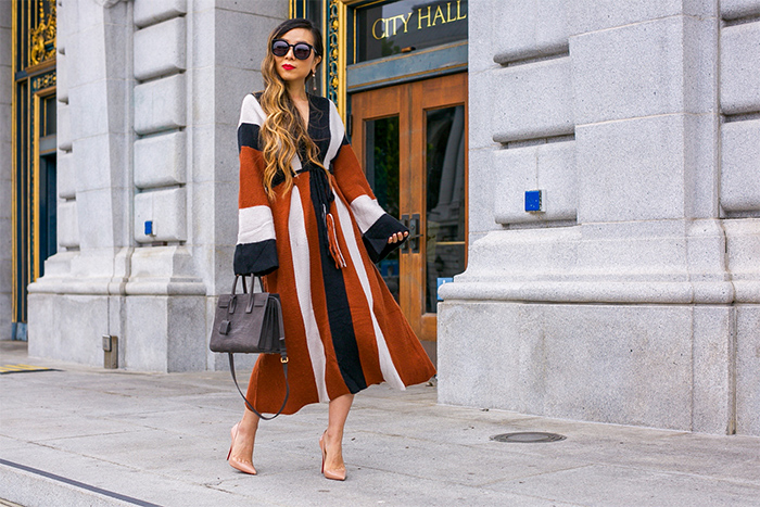 fall sweater dress, free people wanderlust dress, saint laurent sac de jour bag, christian louboutin so kate pumps, kendra scott earrings, karen walker super duper sunglasses, fall outfit ideas, san francisco fashion blog, san francisco street style