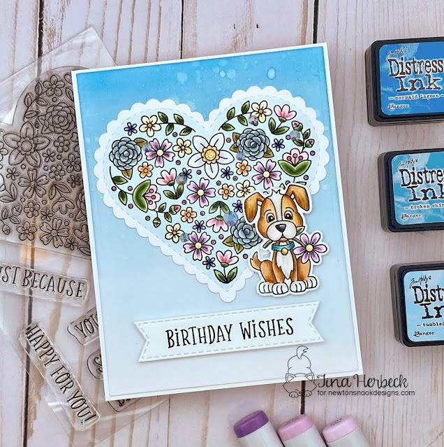 Birthday Card by Tina Herbeck | Heartfelt Blooms Stamp Set, Puppy Friends Stamp Set, Heart Frames Die Set and Banner Trio Die Set by Newton's Nook Designs #newtonsnook