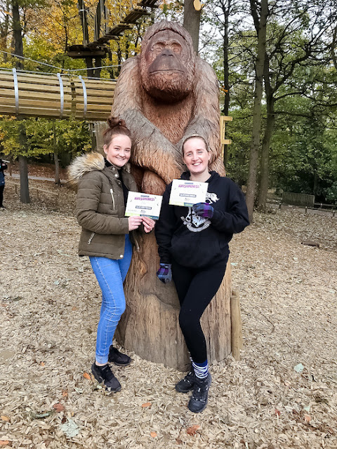 Go Ape at Temple Newsham Leeds - standing with certificates at the finish