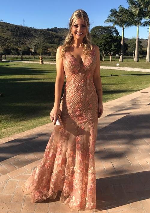 vestido de festa nude floral
