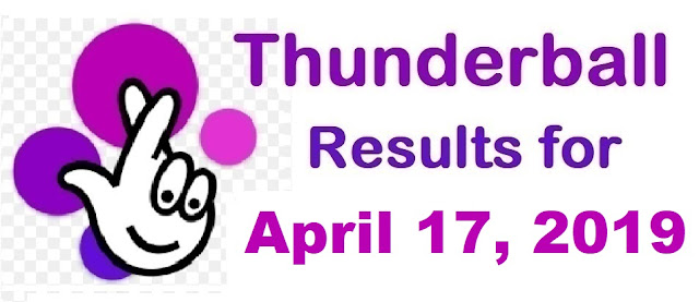 Thunderball results for Wednesday, April 17, 2019