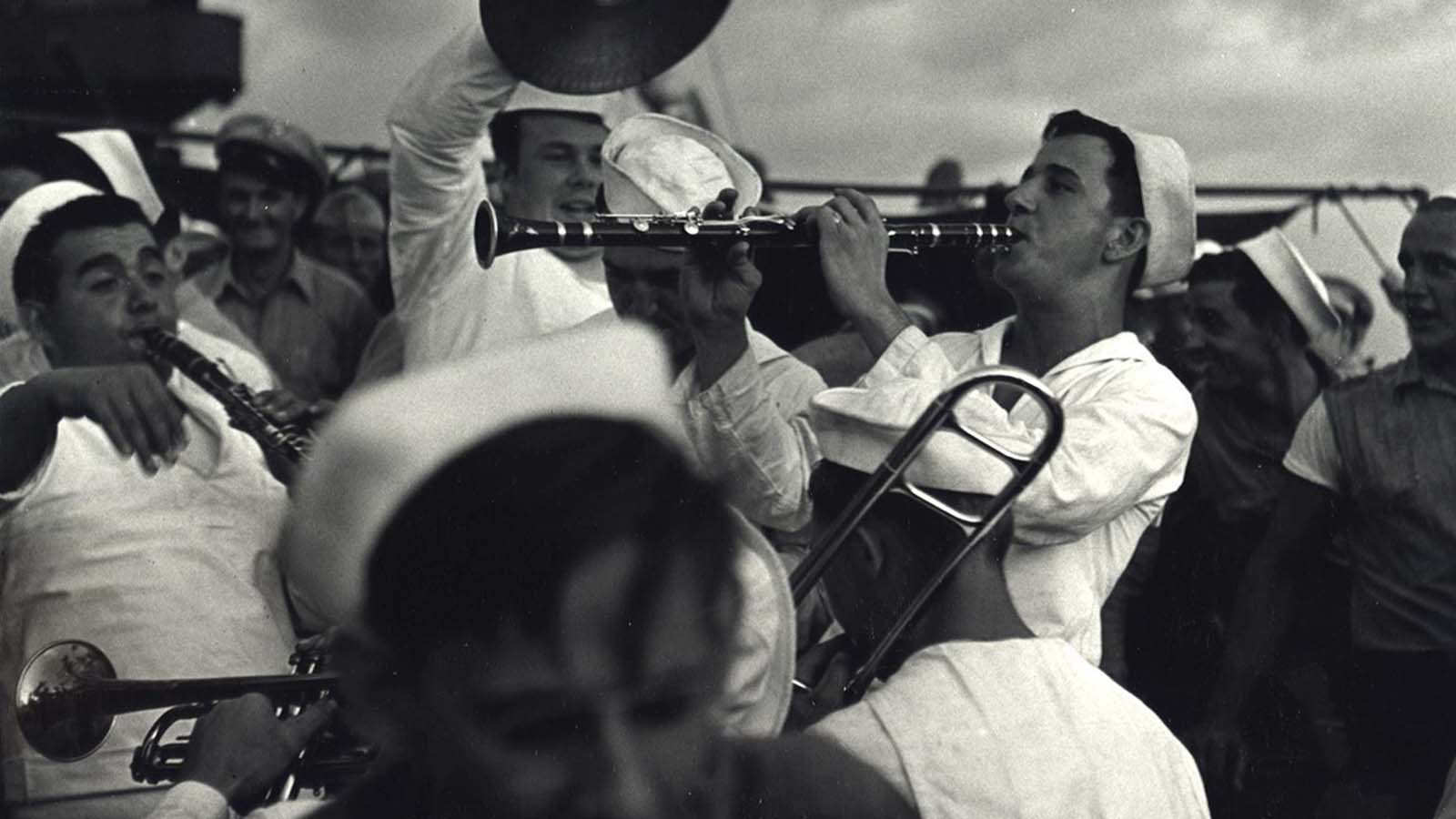 Sailors playing instruments, ca. 1943.