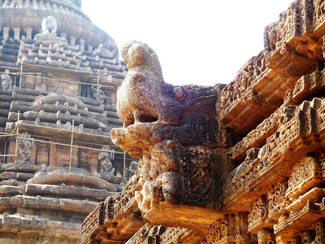 A makara spout on the roof of the dancing hall (nat mandir) at the Konark Sun Temple, Orissa