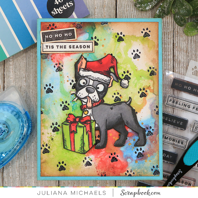 Santa Paws Christmas Card by Juliana Michaels featuring Tim Holtz Crazy Dogs and Scrapbook.com Little Paws Stencil