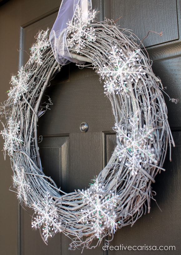 DIY snowy white and silver winter wreath