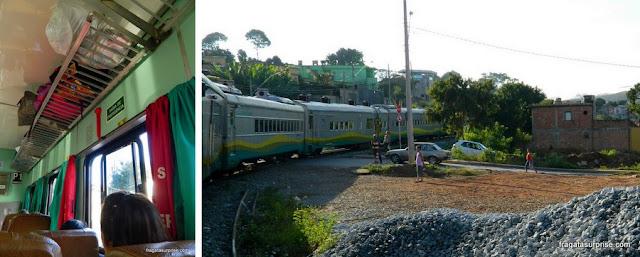 Vagão da classe econômica do trem para Barão de Cocais e a paisagem durante o percurso