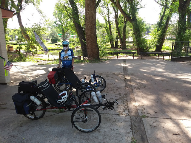 A photo of JoLynn and the trikes