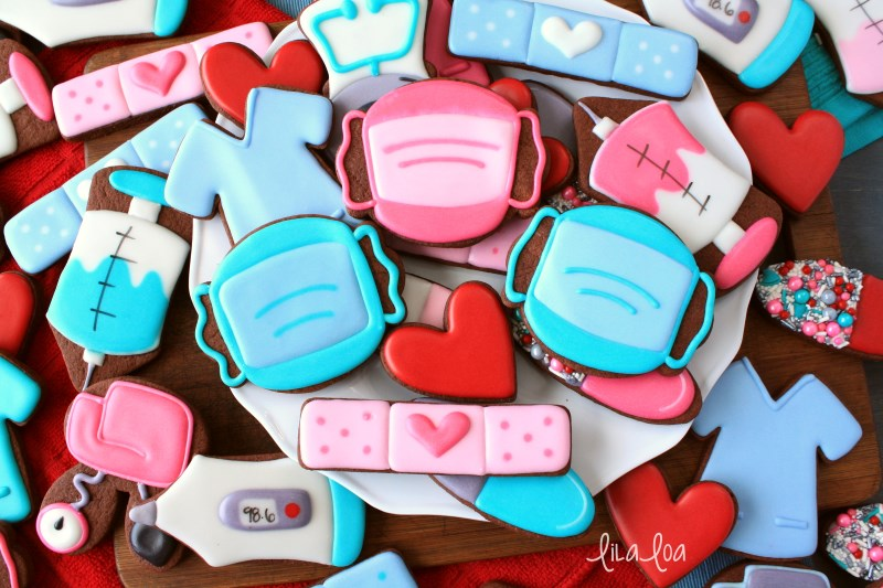 Cute and fun nurse and doctor appreciation decorated chocolate sugar cookies