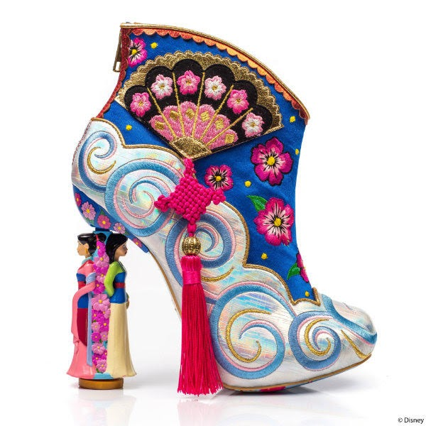 Disney Mulan heeled ankle boot with pink tassel and fan detail