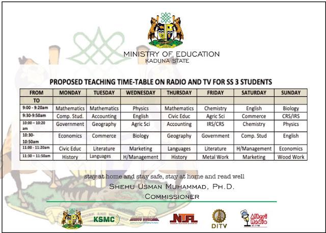 Kaduna State Teaching Class Time-Table [SS3] | Radio & TV