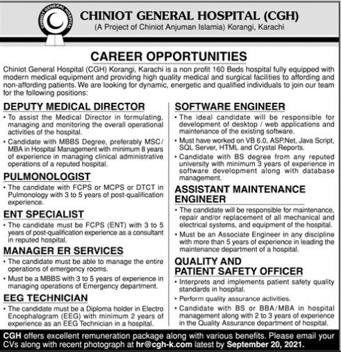 JOBS | Chiniot General Hospital (CGH)