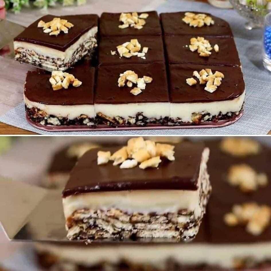 حلوى لذيذة بدون فرن بثلاث طبقات سهلة التحضير