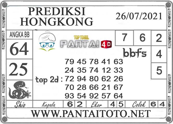 PREDIKSI TOGEL HONGKONG PANTAI4D 26 JULI 2021