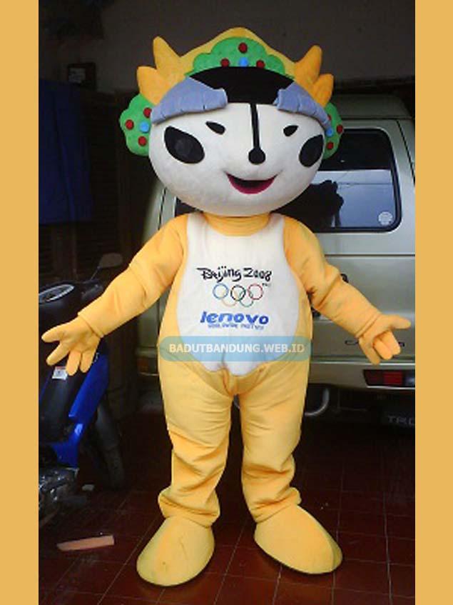 Badut lenovo kuning maskot olimpiade beijing 2008
