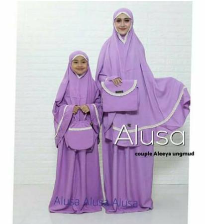 Mukena Couple Ibu dan Anak Renda Aleeya ORI Alusa Mukena Bali
