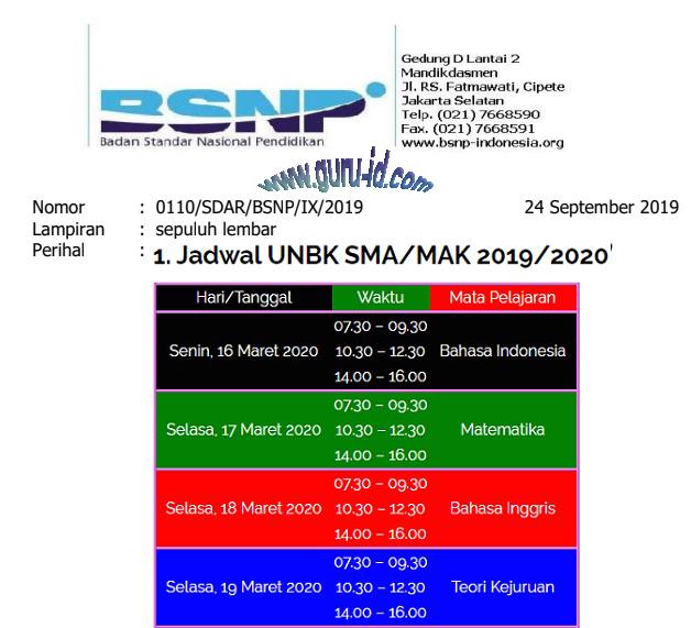 Gambar Jadwal UN SMP, SMA, SMK 2020