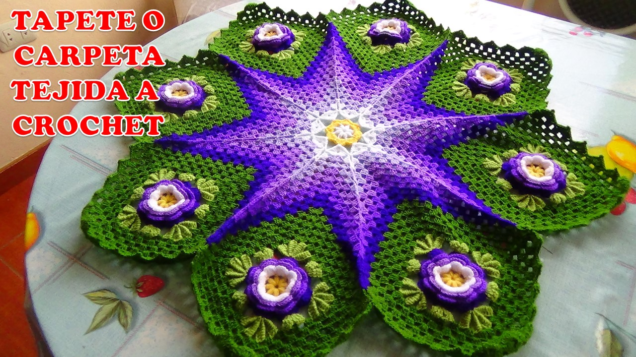 Tejidos milagros ena tapete o carpeta tejida a crochet o - Como hacer tapetes de ganchillo ...