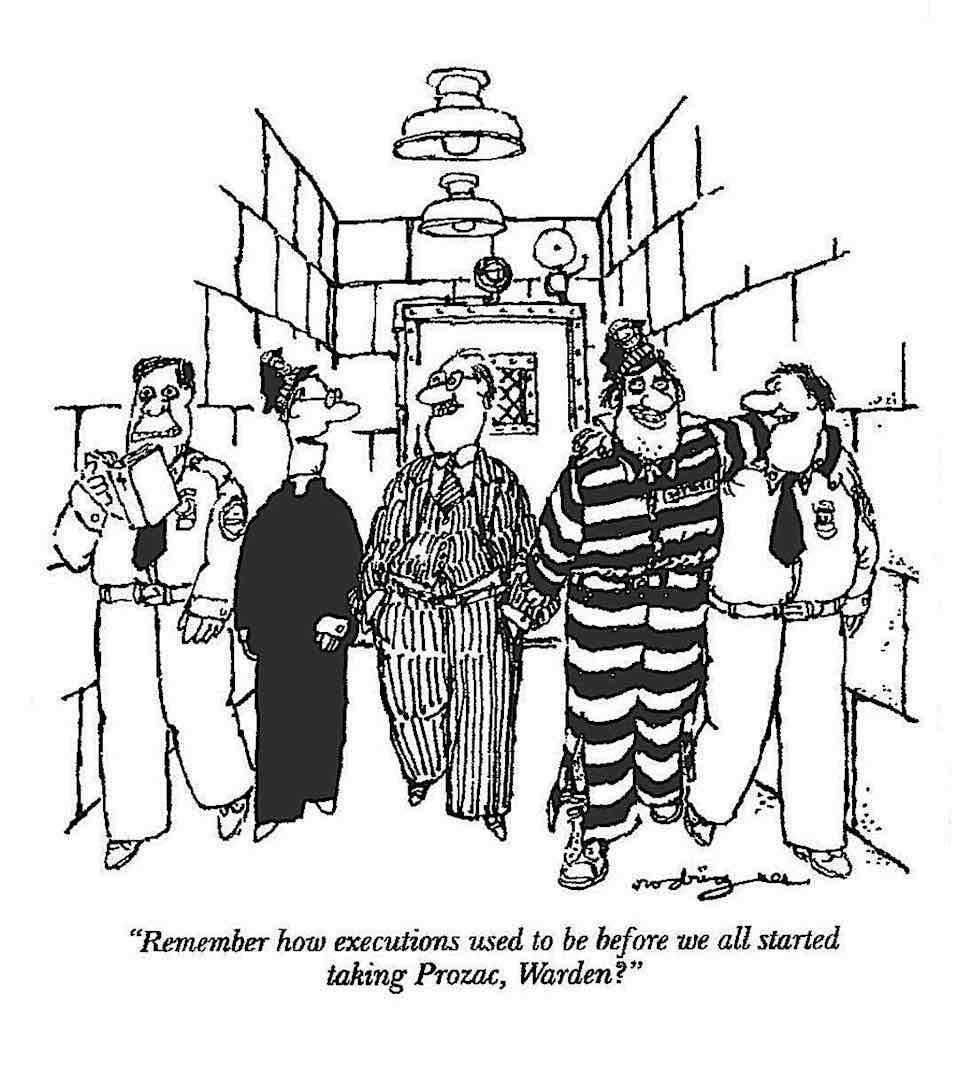 Remember how executions used to be before we all started taking Prozac, Warden?  C. Rodrigues for National Lampoon magazine