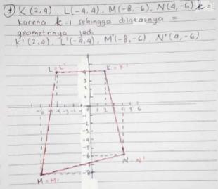 d. K (2, 4), L (–4, 4), M (–8, –6) dan N (4, –6), k = (1 2)