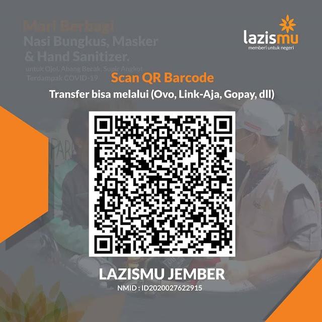 Barcode Donasi Lazismu Jember menerima dari Link-Aja, Dana, OVO , Go Pay dll