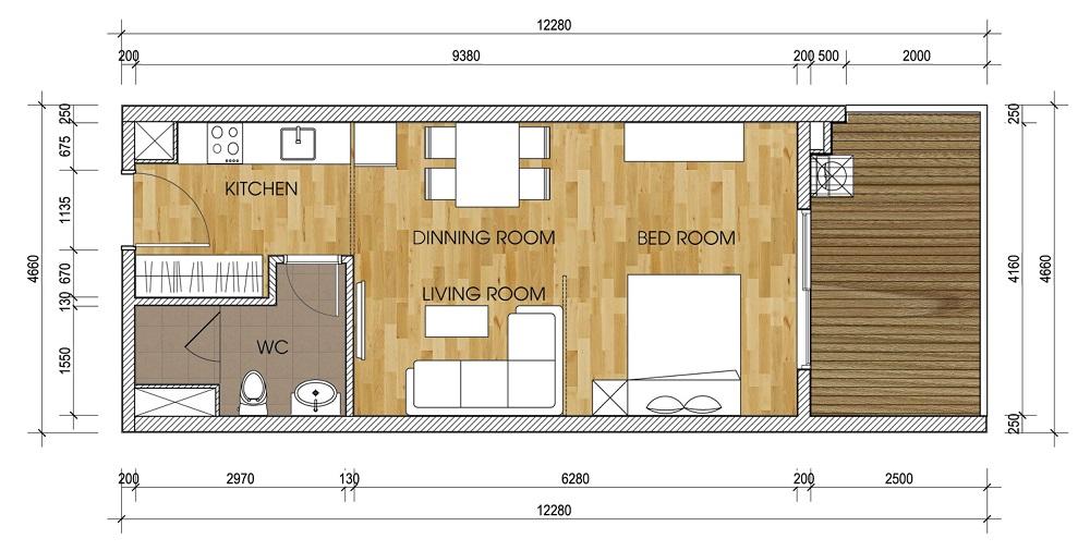 Thiết kế căn 1 phòng ngủ Chung Cư Gamuda.
