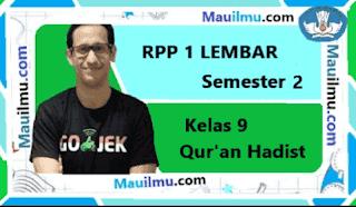 RPP 1 Lembar Qur'an Hadist kelas 9 Semester 2 daring
