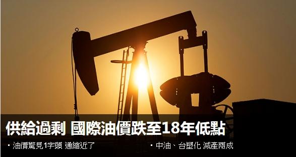 因供給過剩 國際油價跌至18年低點