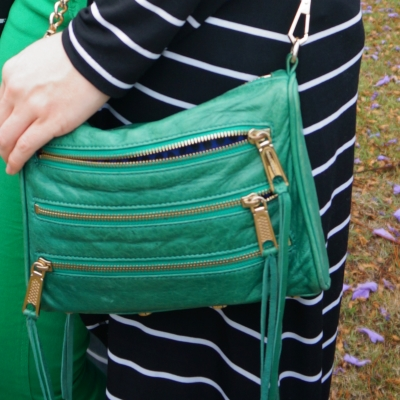 striped duster with Rebecca Minkoff emerald green mini 5-zip rocker bag | away from the blue