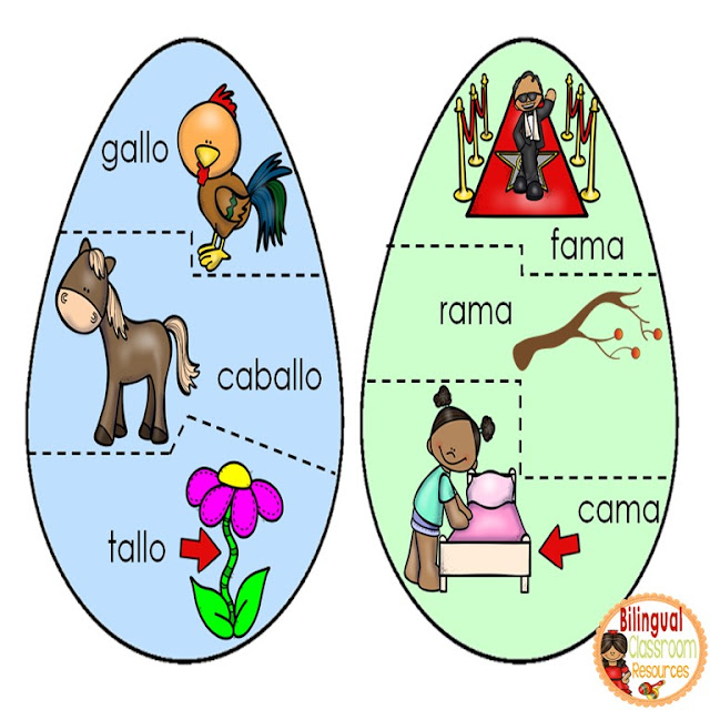 Easter Egg Rhyming Puzzles In Spanish-Rompecabezas de Rimas