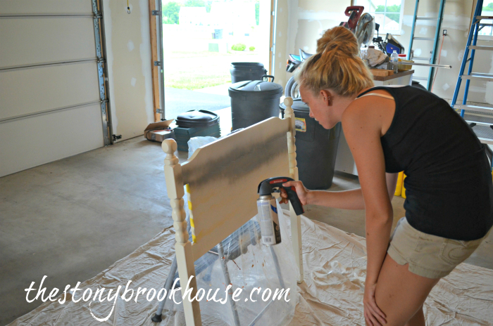 Spray painting DIY Headboard