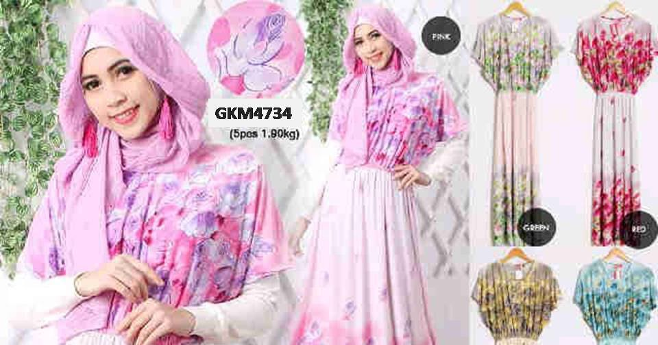 Hairstyle Kulot : Gamis Jersey Bunga GKM4734 - Grosir Baju Muslim Murah Tanah Abang