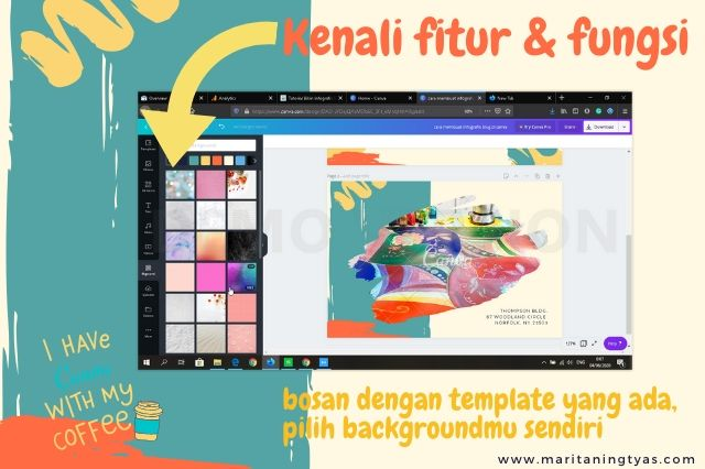 cara membuat infografis blog pilih background canva polos dan bermotif
