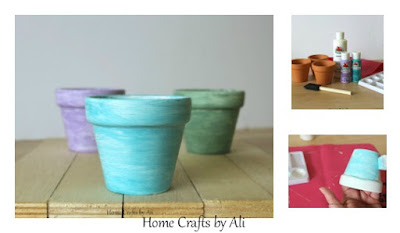 step by step tutorial to pain terra cotta pots in beautiful colors