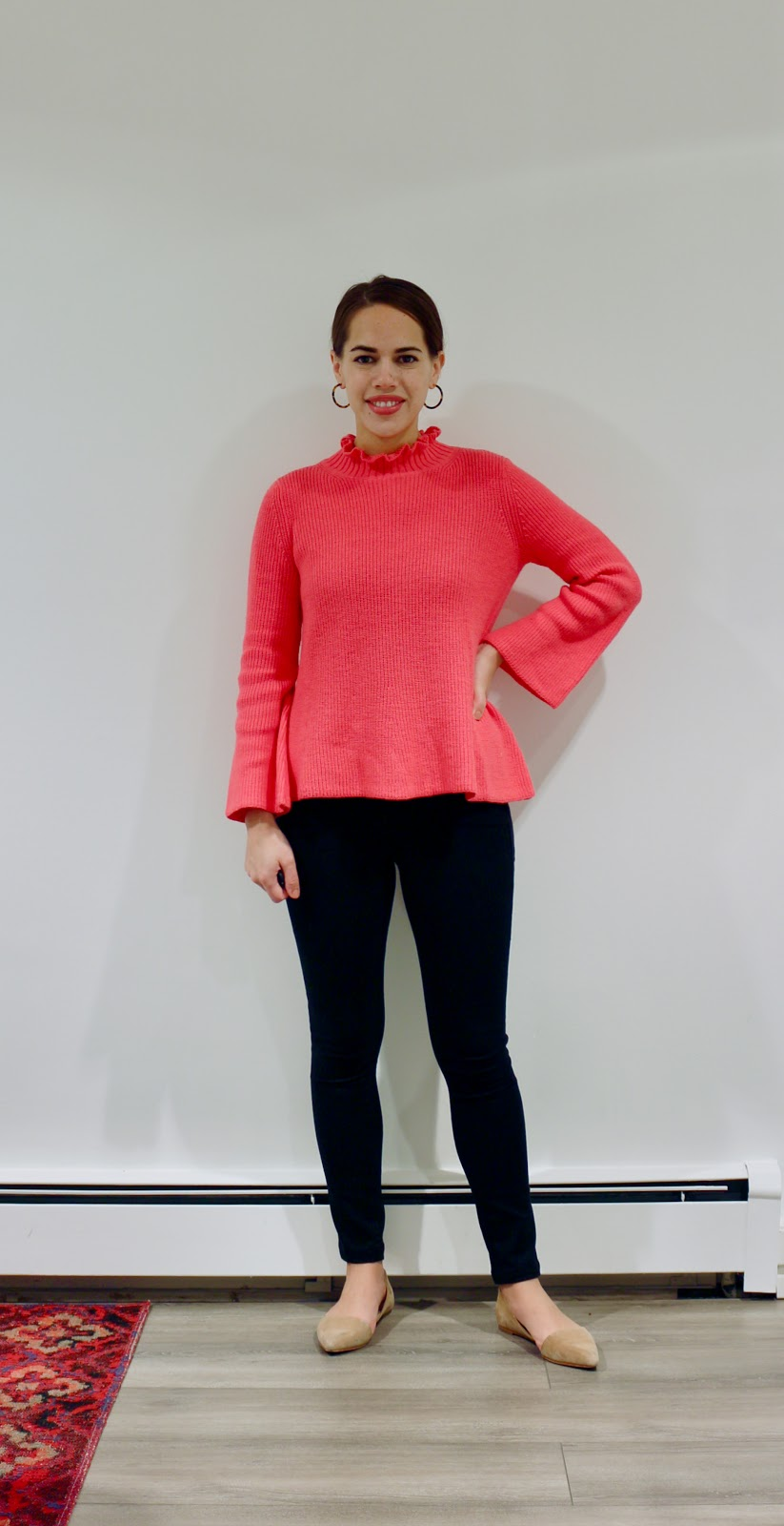 Jules in Flats - Pink Ruffle Mock Neck Swing Sweater (Business Casual Fall Workwear on a Budget)