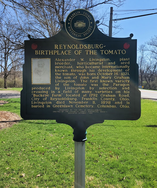 Franklin County Historical Society Marker for Reynoldsbur-Birthplce of the Tomato