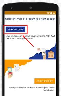 Federal bank E-KYC Bank account opening process