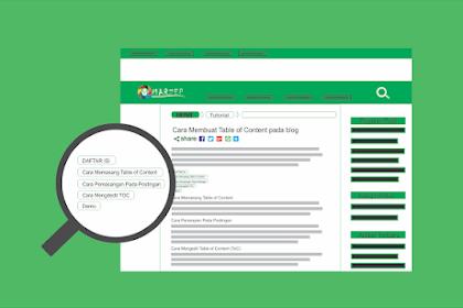 Cara Membuat Daftar Isi/Table of Content di Postingan Blogger