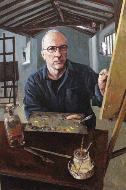Juan Azpeitia, Self Portrait, Portraits of Painters, Fine arts, portraits of painters blog, Paintings of Juan Azpeitia, Painter Juan Azpeitia