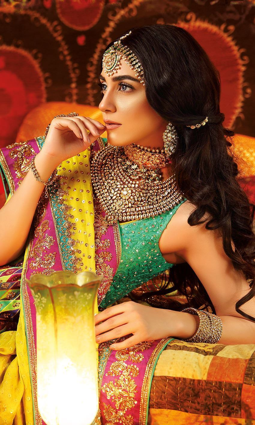 Swarovski crystal work Bridal Mehndi Dress by Nomi Ansari